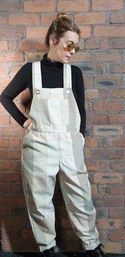 square pattern dungarees.  Mint green and cream colour. size 12-14