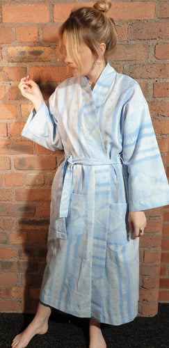 blue cotton handmade dressing gown size 8-14