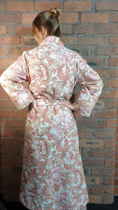 pink and white pattern handmade dressing gown size 6-12