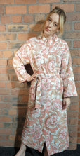 Load image into Gallery viewer, pink and white pattern handmade dressing gown size 6-12