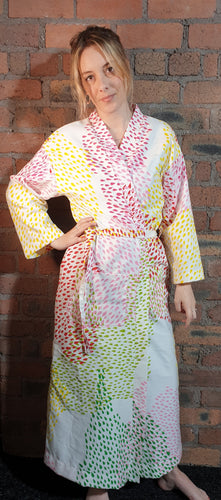 multicolured handmade cotton dressing gown size 6-12