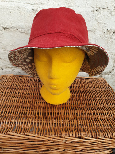 Red and Grey print reversible unisex bucket hat