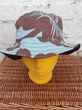 Load image into Gallery viewer, Blue and brown reversible unisex bucket hat