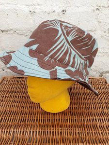Blue and brown reversible unisex bucket hat