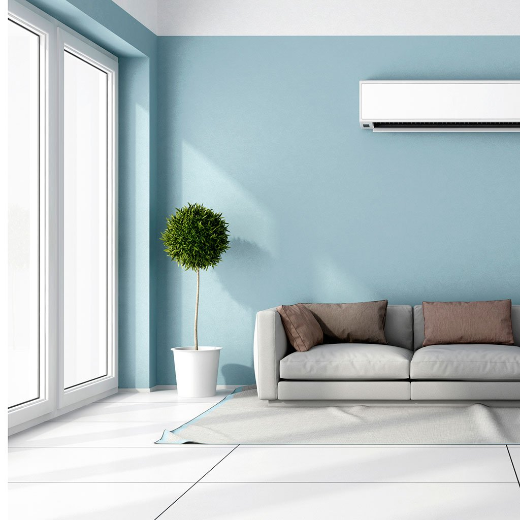 Blue peel and stick paint living room with couch