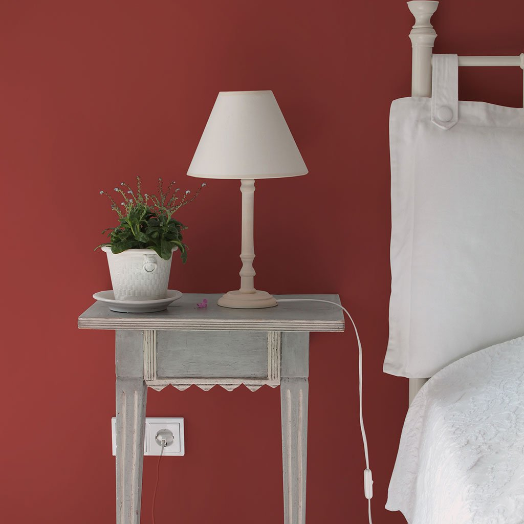 Brick redd peel and stick removable paint behind nightstand- Venetian Brick TemPaint