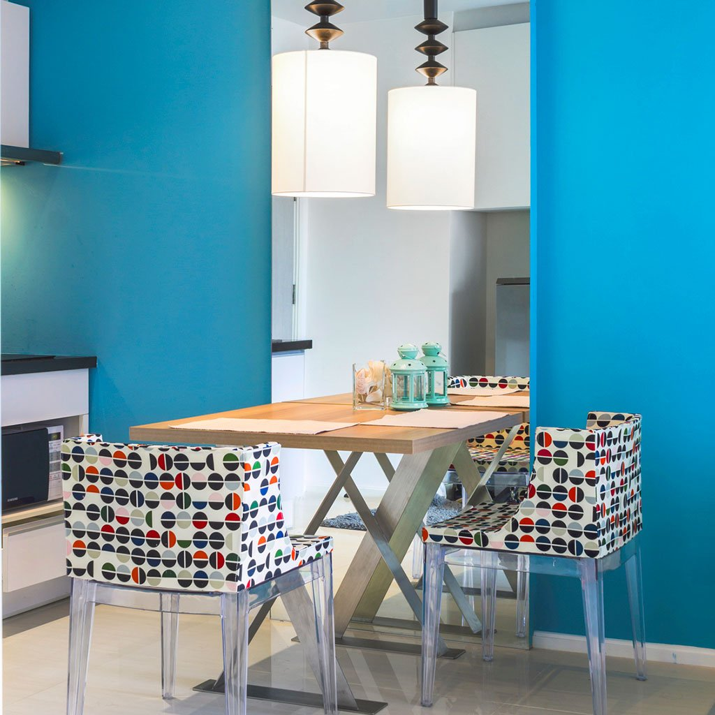 Bright blue peel and stick removable paint and bright blue solid color wall paper in kitchen - Monterrey Blue TemPaint