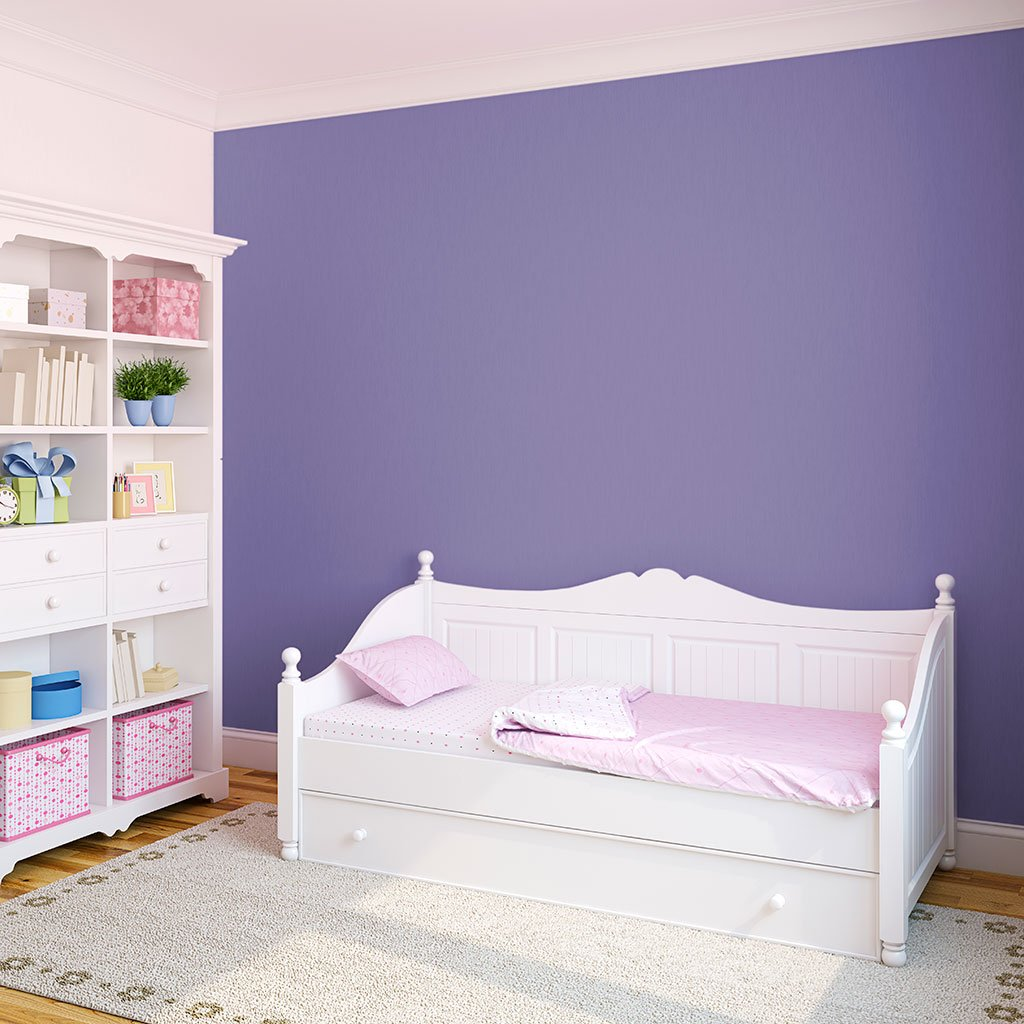 Dard Purple peel and stick removable paint and purple color wall paper in kids room behind kids bed - Countryside Purple TemPaint