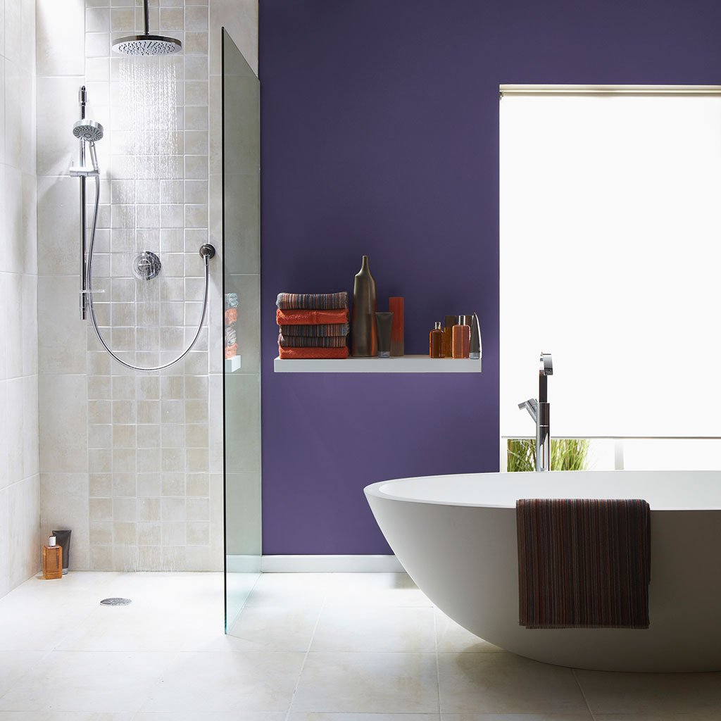 Dard Purple peel and stick removable paint and purple color wall paper in bathroom with standup shower and stylish tub - Countryside Purple TemPaint