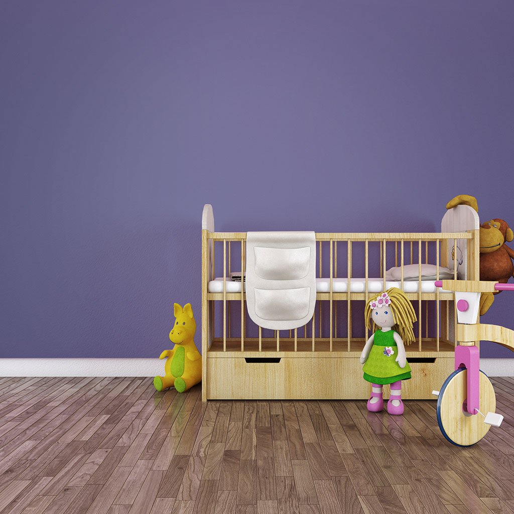 Dard Purple peel and stick removable paint and purple color wall paper in nursury with crib and toys - Countryside Purple TemPaint