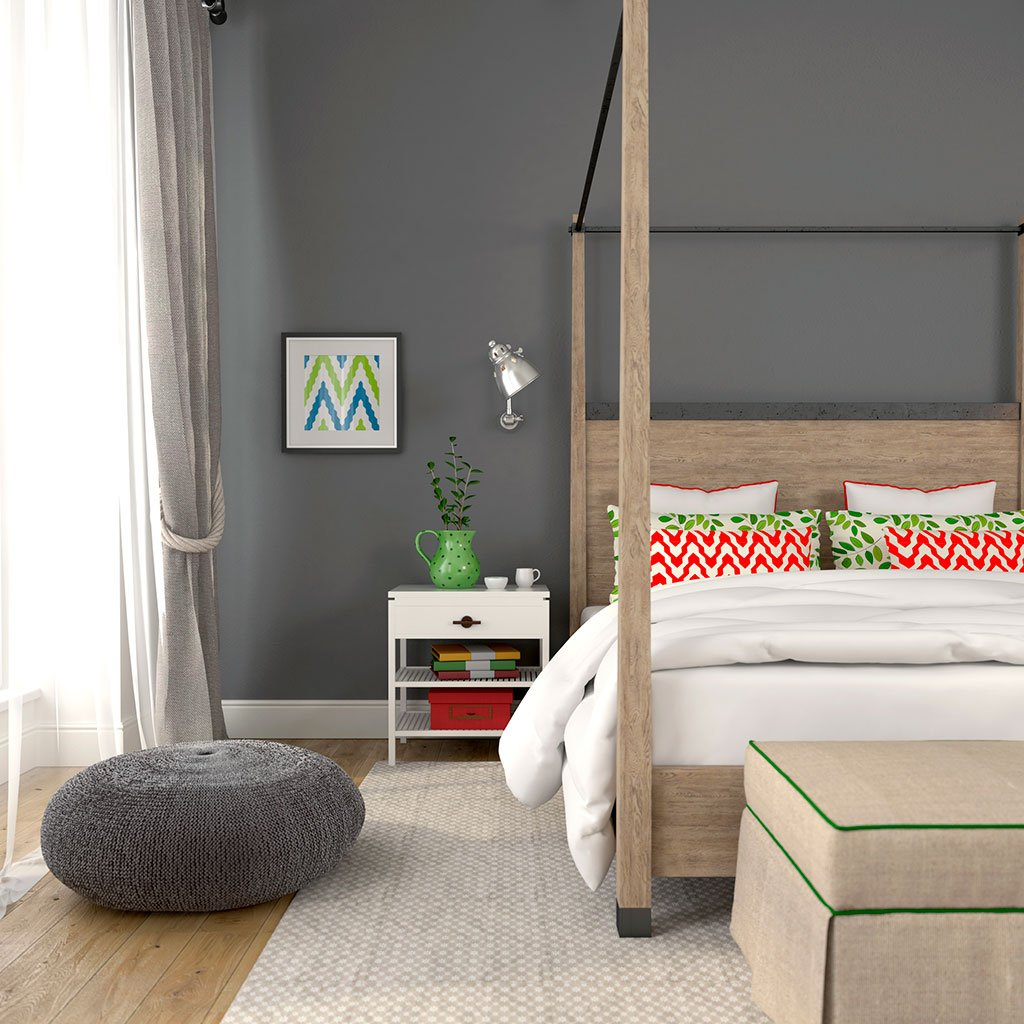 Gray peel and stick removable paint and solid gray wall paper behind four poster bed - Portland Gray TemPaint