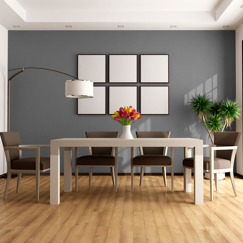 Gray peel and stick removable paint and solid gray wall paper in dining room table with six pictures on wall - Portland Gray TemPaint