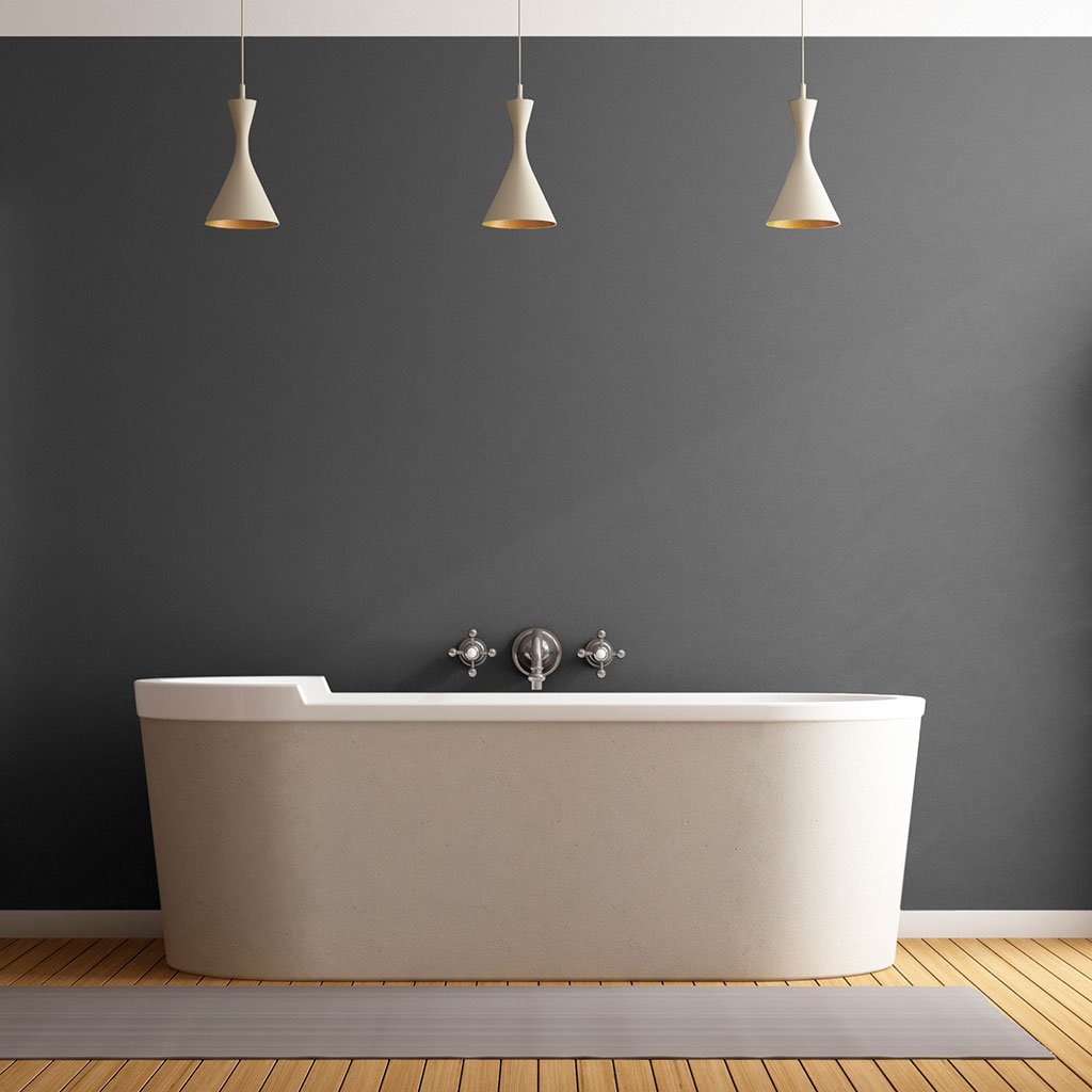 Gray peel and stick removable paint and solid gray wall paper in bathroom with three pendant lights and white tub - Portland Gray TemPaint