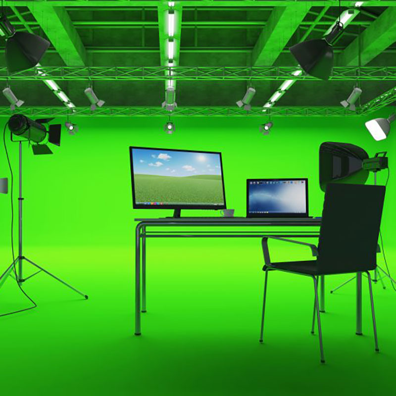 Peel and stick green Screen for special effects in recording studio