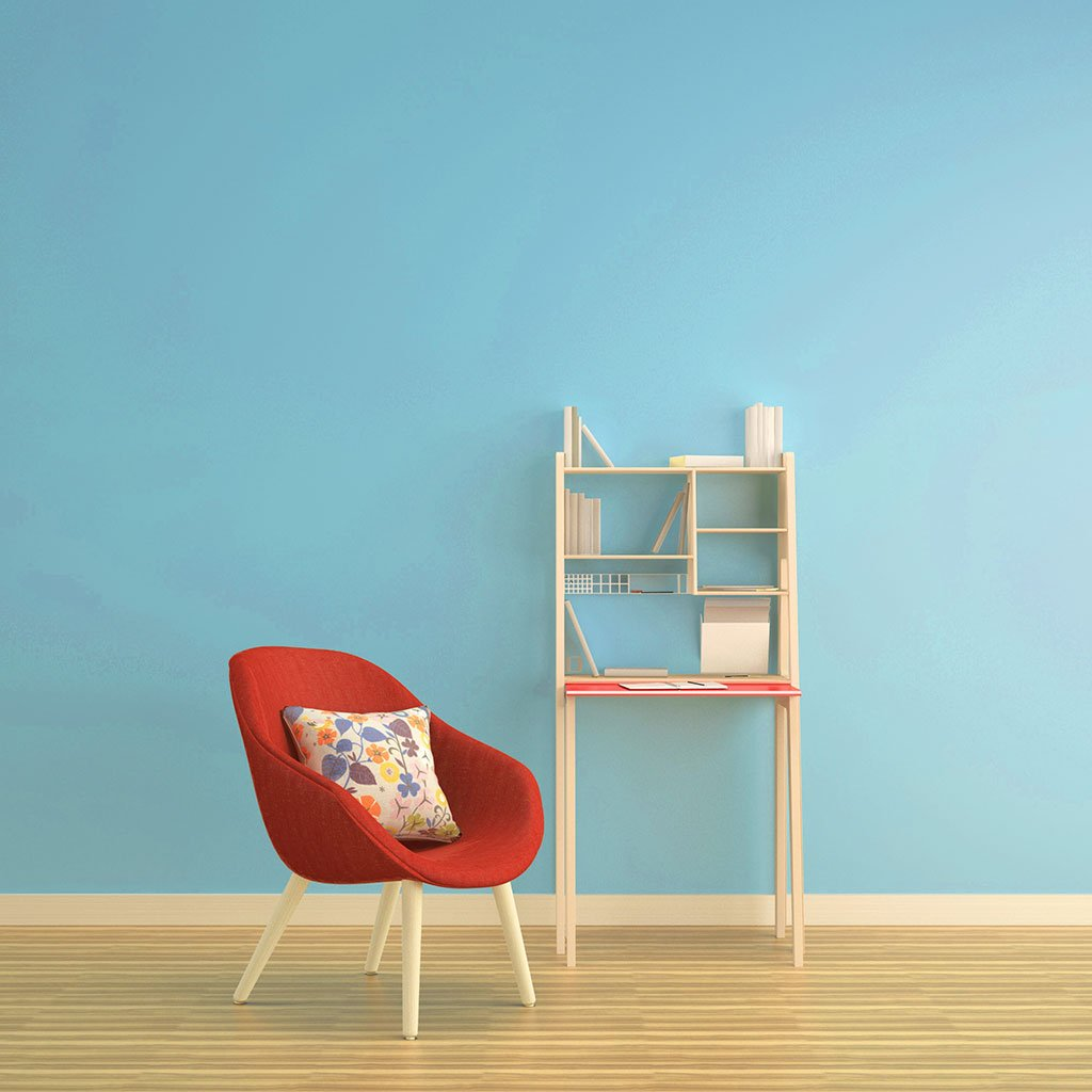 Light blue peel and stick removable paint and solid light blue wall paper in nursery room wall with red chair - Savannah Blue TemPaint