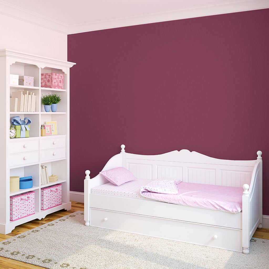 Purple peel and stick removable paint and solid purple wallpaper in nursery with single kid's bed - California Merlot TemPaint