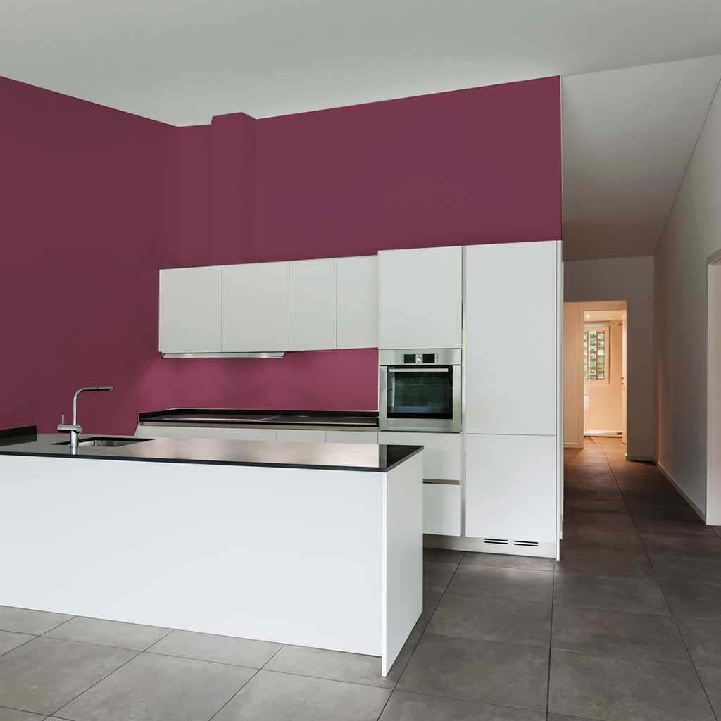 Purple peel and stick removable paint and solid purple wallpaper apartment kitchen with white cabinets - California Merlot TemPaint