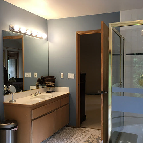 Customer's home bathroom project with Seattle blue TemPaint on walls.