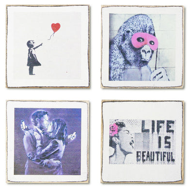 4 Banksy Art Coasters Set & Holder, Perfect Housewarming Gift