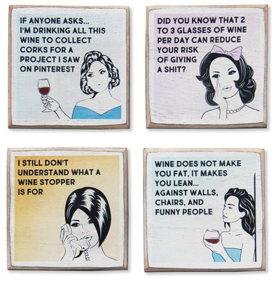 4 Funny Wine Coasters Set & Bottle Holder, Perfect Gift for Wine Lovers