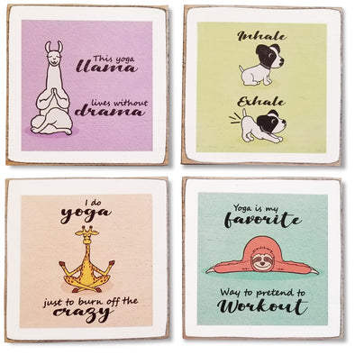 Funny Yoga Animals Coasters for Drinks - Cute Coasters with Holder - Perfect Yoga Gift