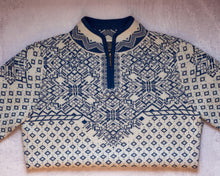 Load image into Gallery viewer, Navy and Cream Patterned Alpaca Sweater