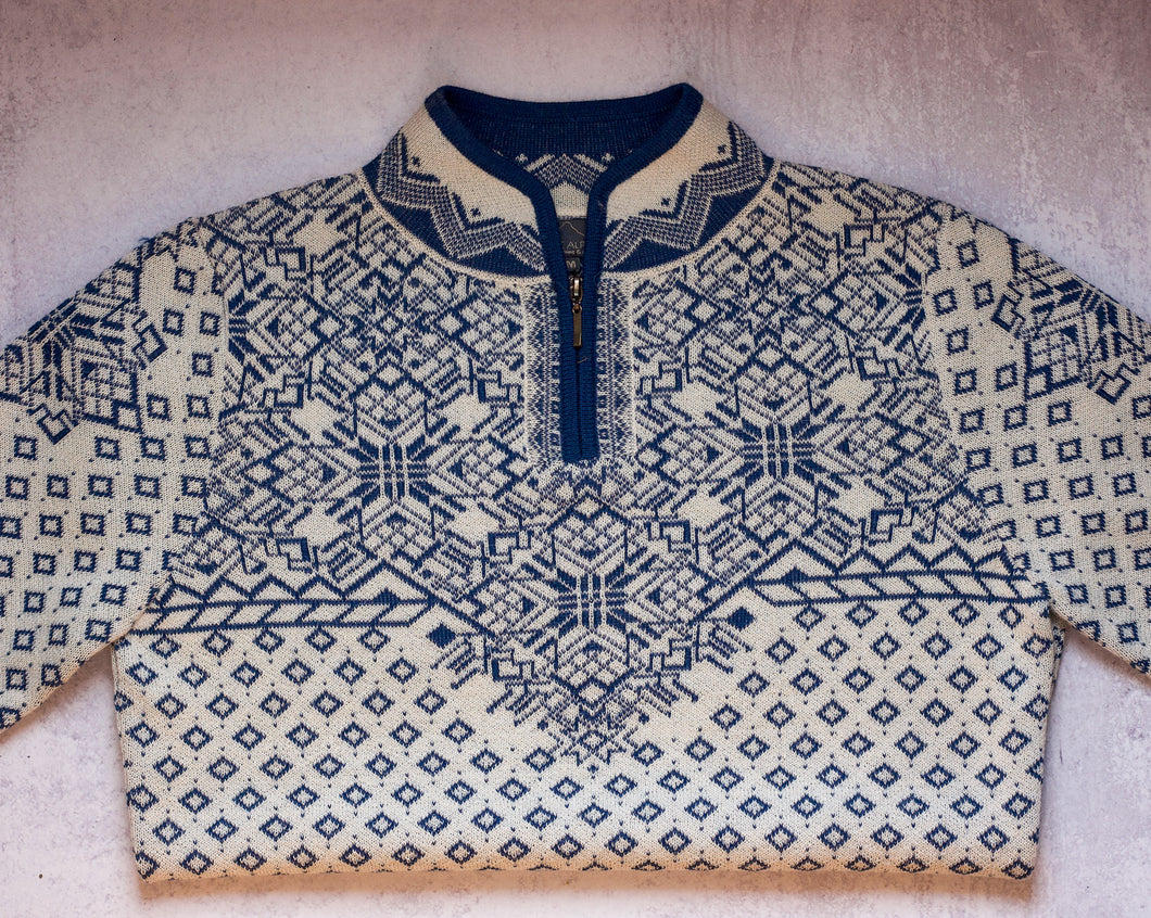 Navy and Cream Patterned Alpaca Sweater