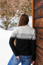 Load image into Gallery viewer, Two-Toned Women's Geometric Half Zip Alpaca Sweater