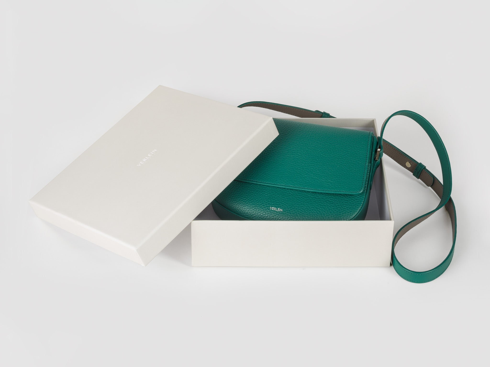 Emerald Green Ana Crossbody Bag, with gift box, from Verlein