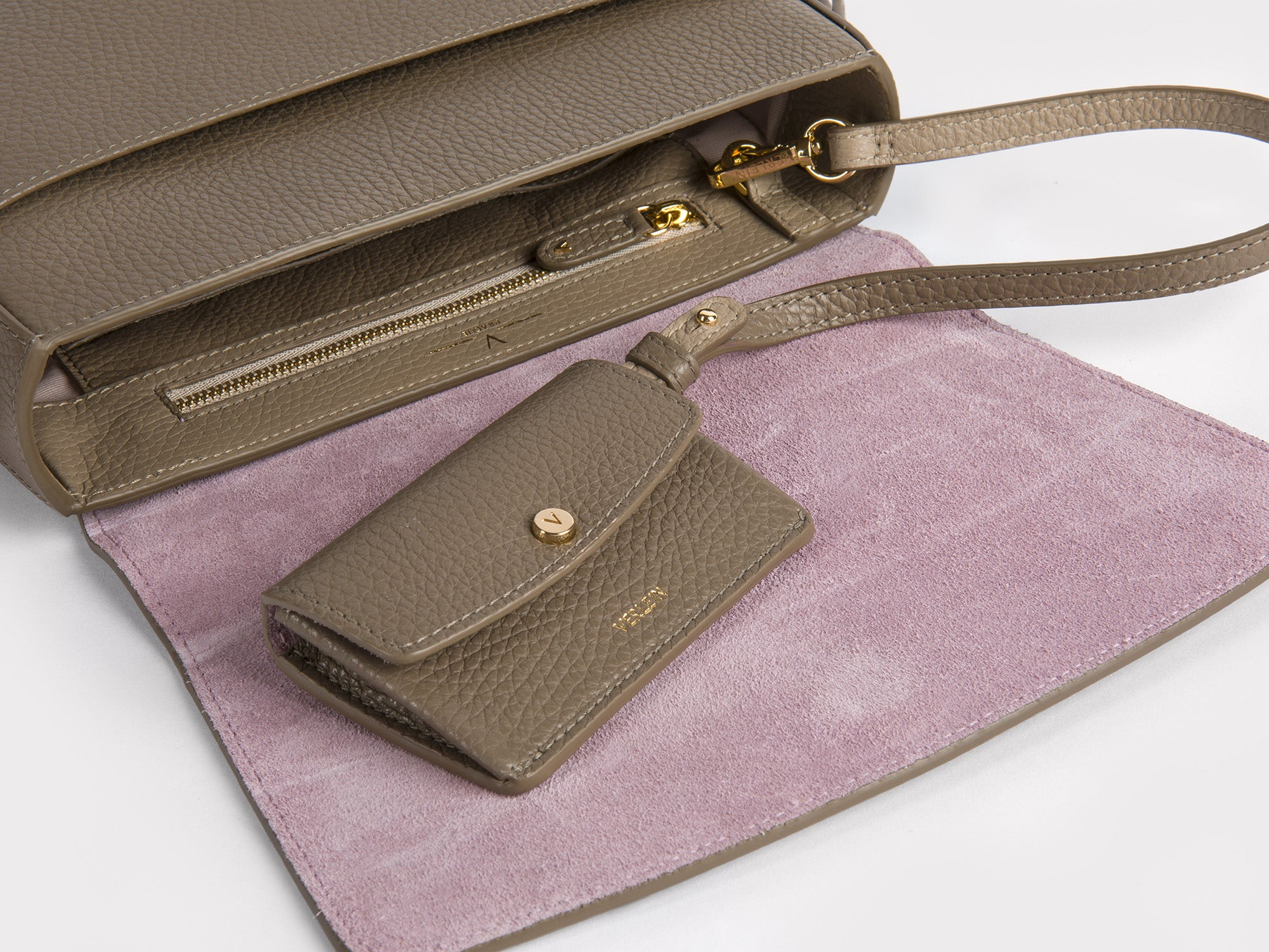 Inside detail of a Taupe Ana Crossbody Bag, with an attached Ines coin purse, from Verlein