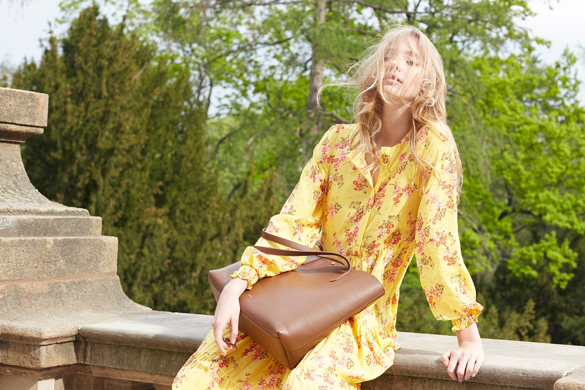 Verlein SS19 Shoot with brown Julia Tote Bag
