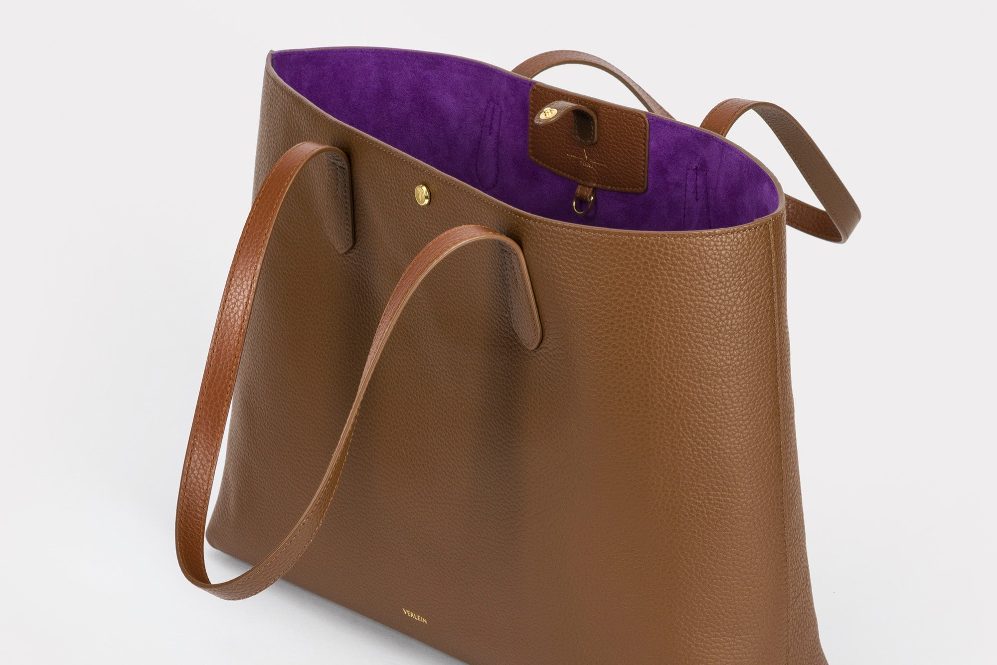 An open Julia Tote bag, in Chocolate Brown, from Verlein