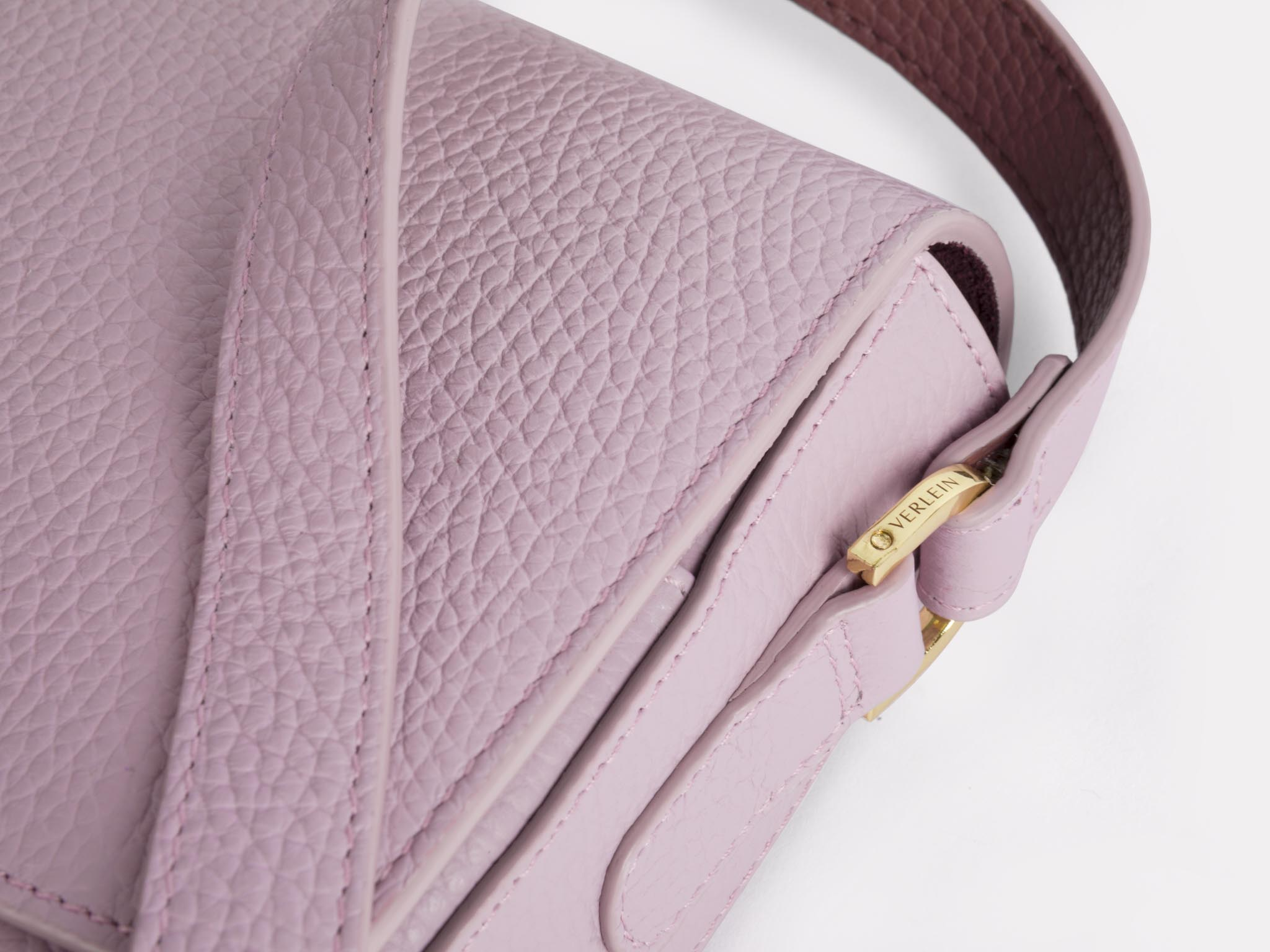 Closeup of a Lavender Haze Ana Crossbody Bag, from Verlein