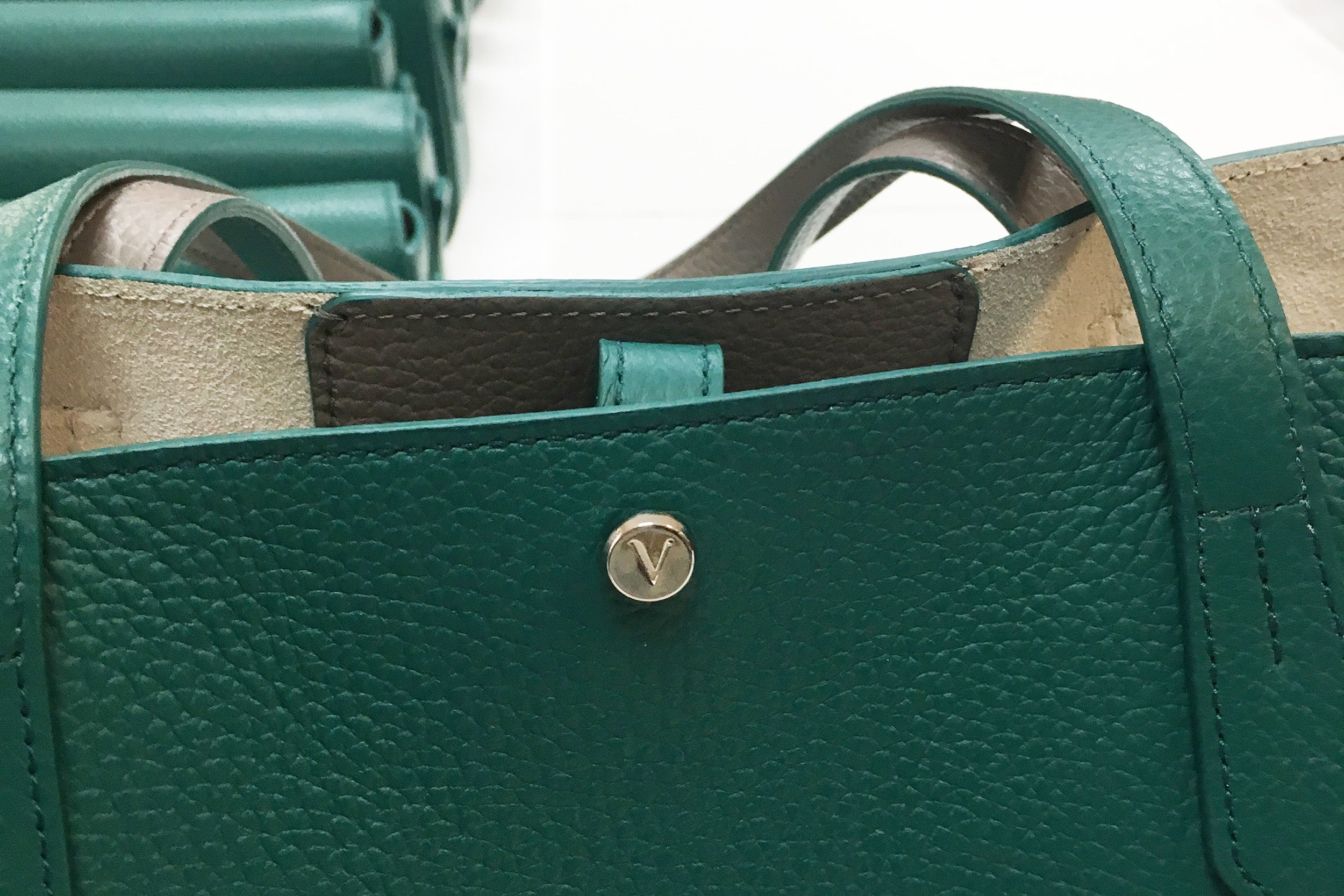 Detail of a green Verlein Julia Tote Bag
