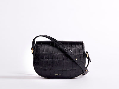 Mini Crossbody Ana Croc, Matte Black | VERLEIN