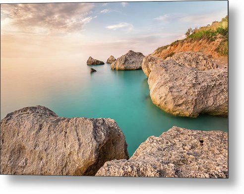 Calm And Serenity At Kavalikefta Beach - Metal Print