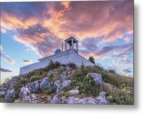 Profitis Ilias At Sunset - Metal Print
