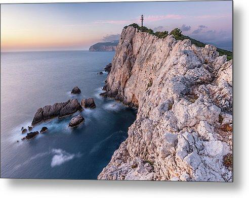 Cape Lefkada At Sunset - Metal Print