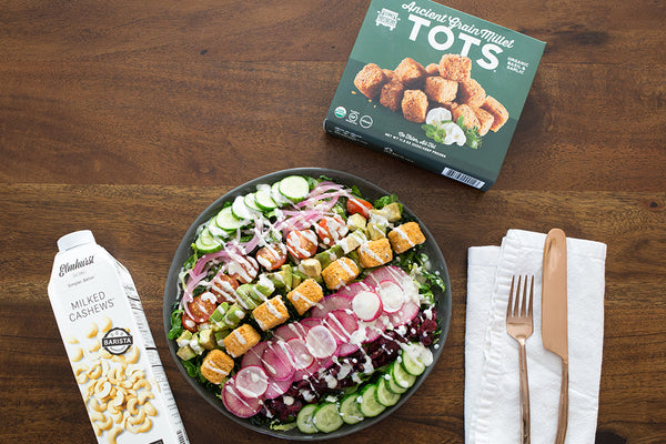 Chopped Salad with Garlic & Basil Millet Tots and Elmhurst