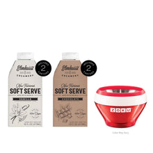 Load image into Gallery viewer, Soft Serve Vanilla and Chocolate Dairy-Free Ice Cream Mix and Zoku Ice Cream Making Bowl