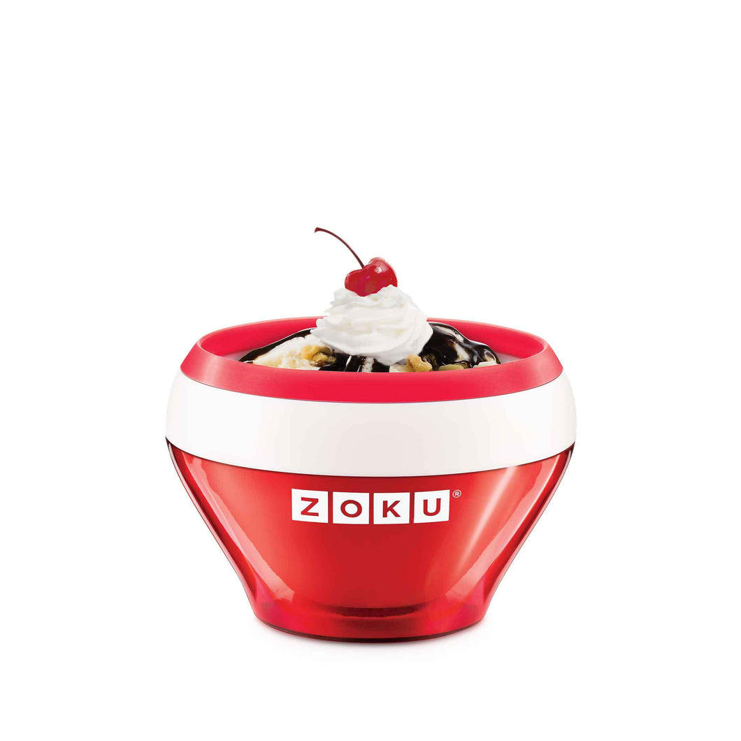 picture of a red and white Zoku ice cream making bowl