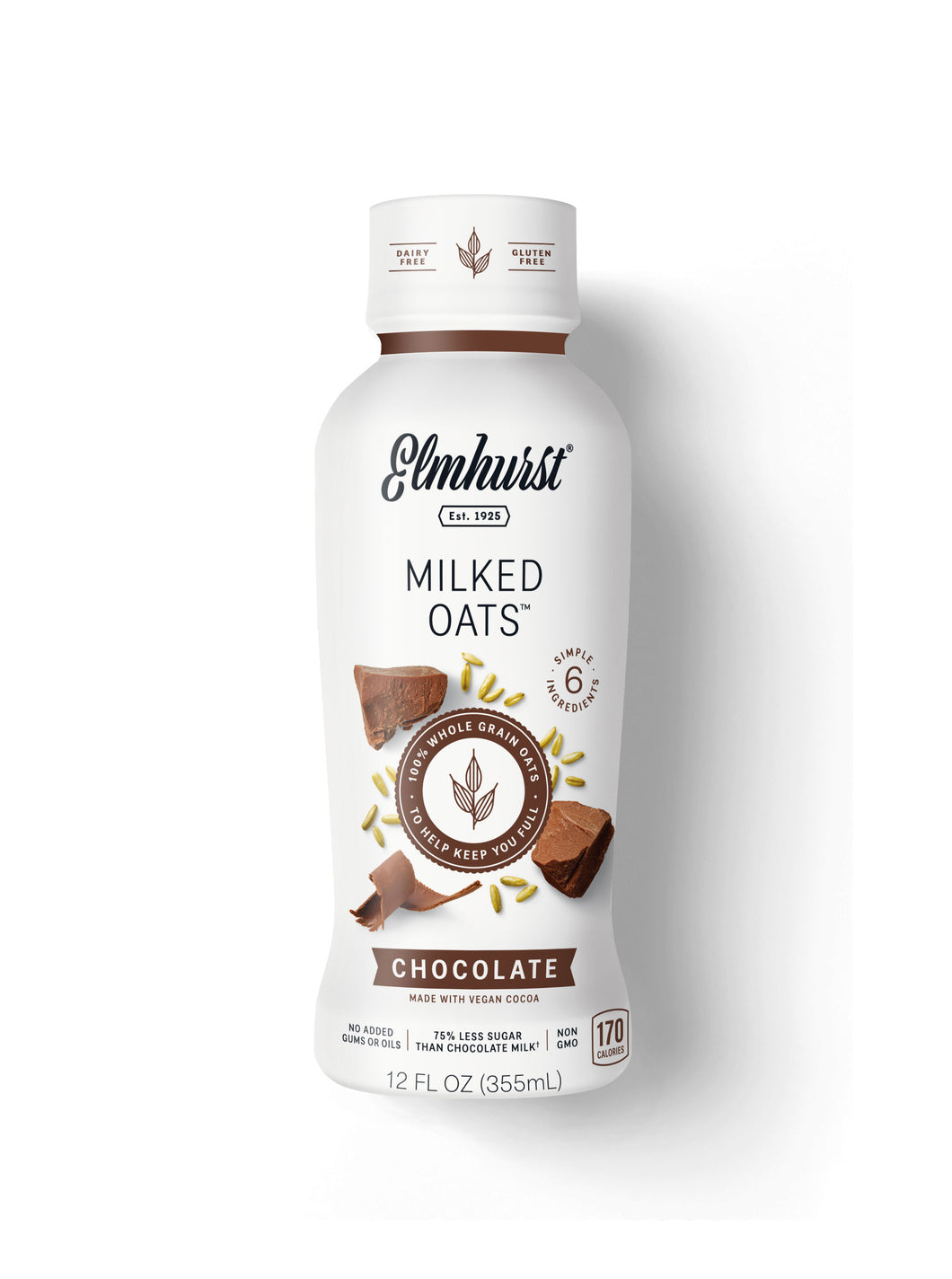 Elmhurst Single-Serve Chocolate Milked Oats™, 12oz (Dairy-Free & Shelf-Stable)