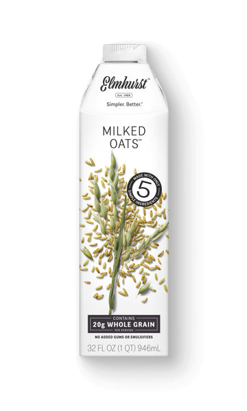 Elmhurst Milked Oats™, 32oz Carton - non-dairy oat milk with 20g of whole grain