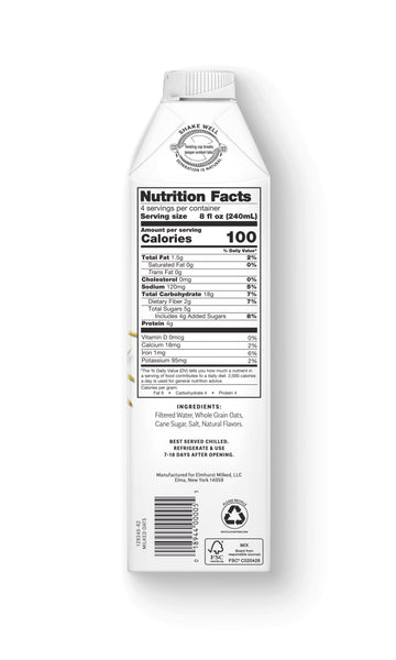 Elmhurst Milked Oats™ Nutrition Facts, 32oz Carton - non-dairy oat milk with 20g of whole grain