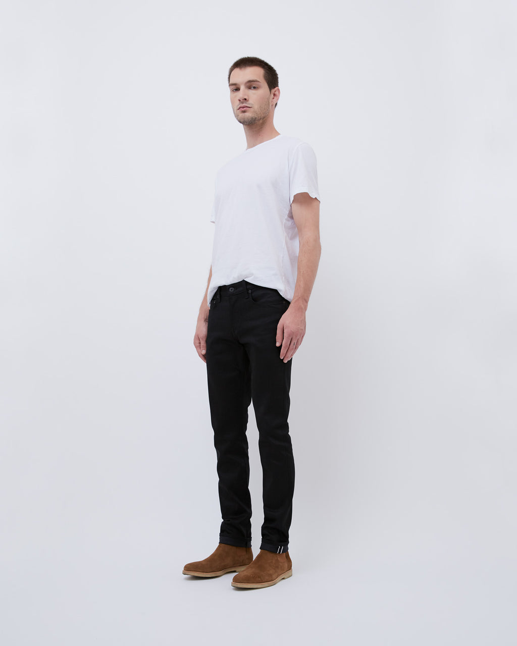 The 76 Jean in Black Raw Stretch Selvage