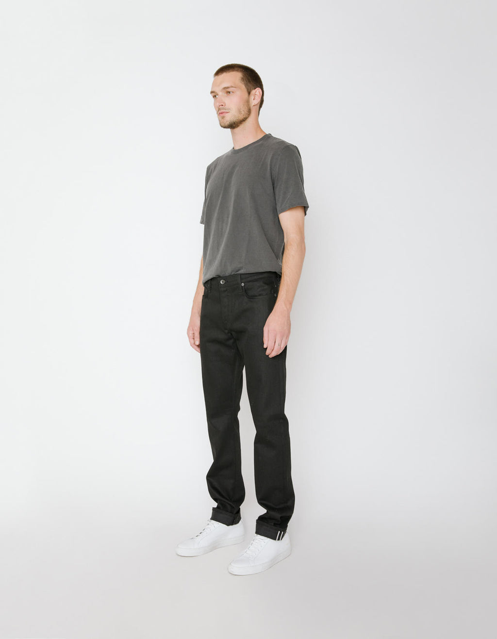 The Henley Jean in Black Raw Stretch Selvedge