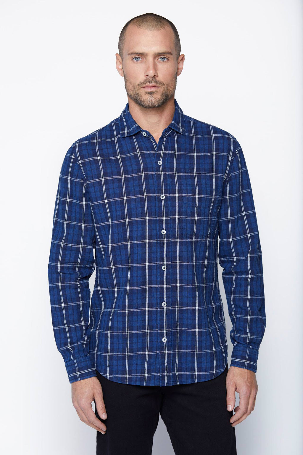 The William Button-Up in Indigo Plaid