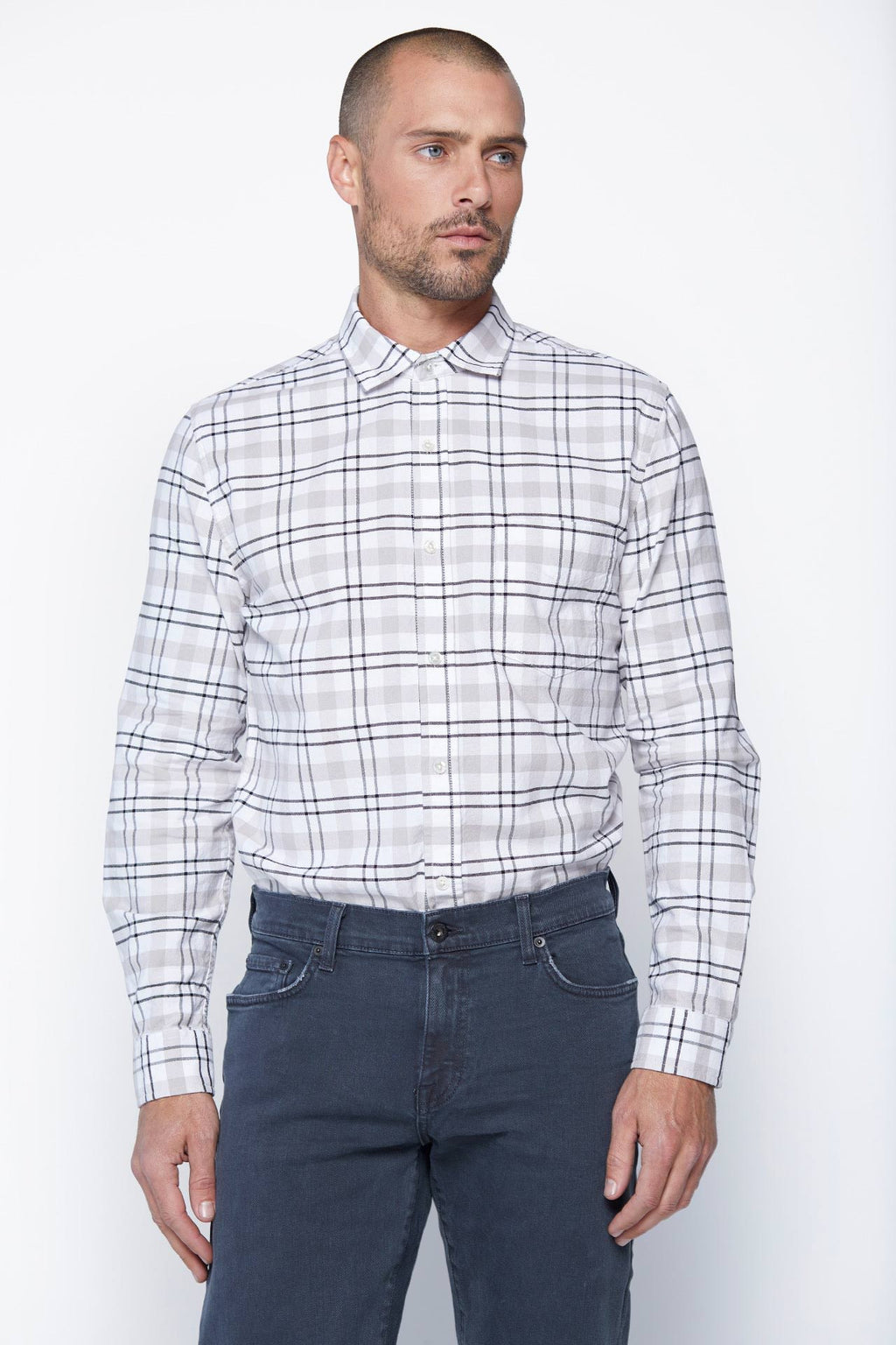 The William Button-Up in White Plaid