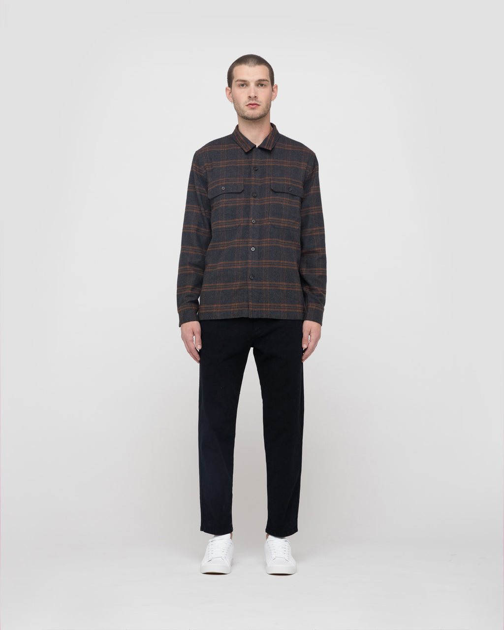 The Guetes Shirt in Rust Plaid