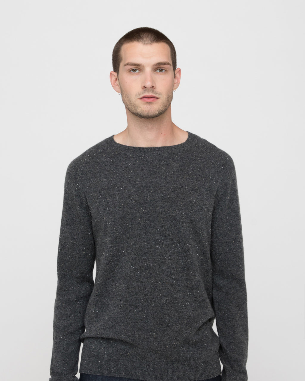 The Graham Sweater in Stone Donegal